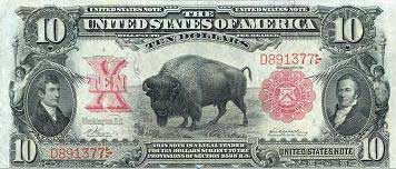 The American bison on the US $10 bill.